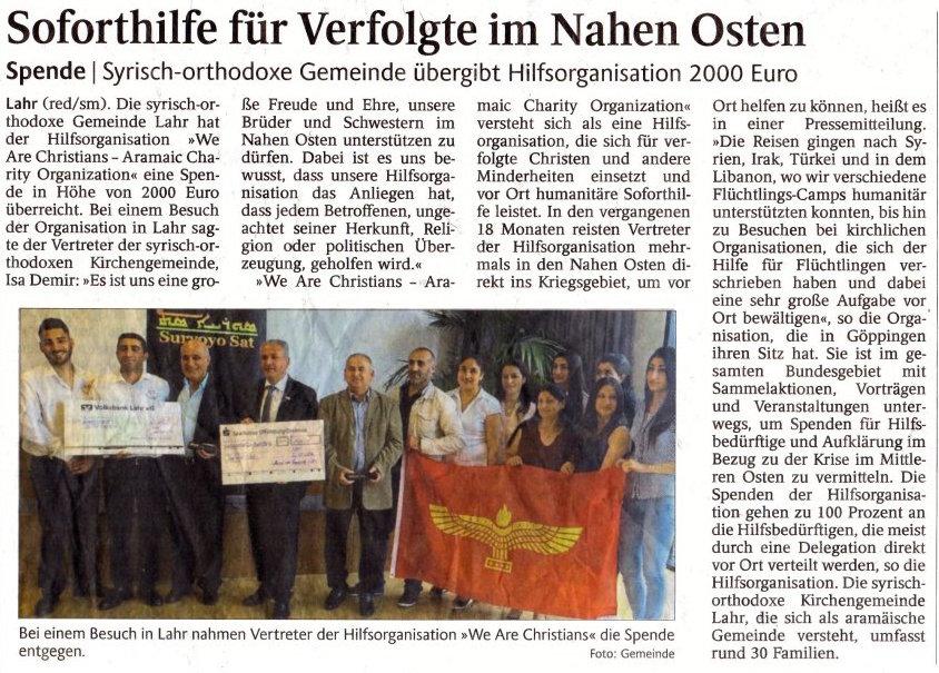 Zeitungsartikel - Lahrer Zeitung
